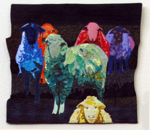 Herd'n Sheep, by Debra Goley, fiber, 17 x 16 , $340